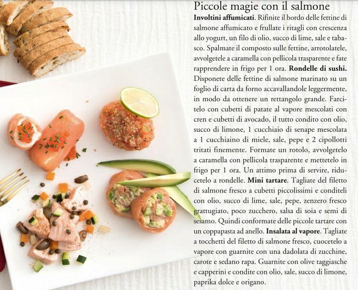 Fantasie al salmone: involtini affumicati con crescenza allo yogurt e tabasco - rondelle di sushi con patate, avocado e senape - mini tartare al lime - insalata al vapore