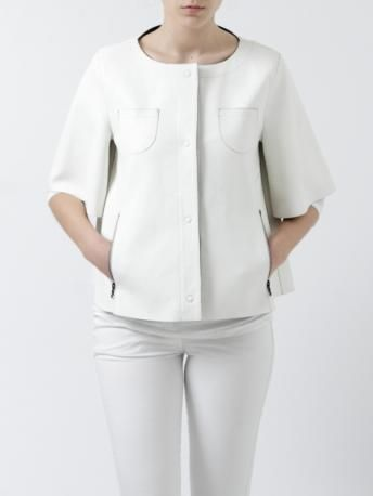 Drome-giacca in pelle bianca maniche corte-white leather short sleeves jacket-Drome Spring Summer 2014 shop online