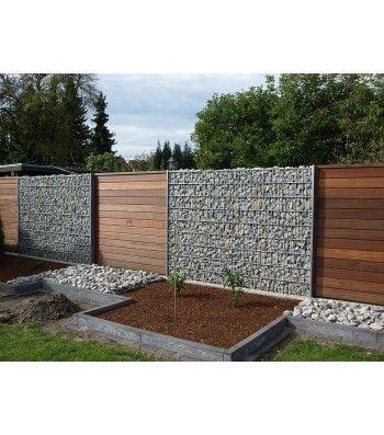Gabionen in Verbindung mit Holz... Moderner zaun, Zaun