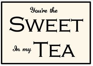 """You're the sweet in my tea by CreateYourWoodSign.com Hand painted wood sign The size is 18"""" by 12"""" The background is white tablecloth with black lettering Distressed With outdoor protection with border   Our wooden plaques are created for enduring quality. Because we never use vinyl stickers on our wooden signs, you can expect the writing to last forever.  All our signs are available in any colors, fonts and size. You can have it distressed or not, with outdoor protection or without."""