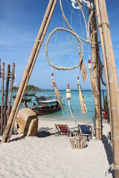 "Hippie beach bar ""happy vibes"" on Koh Lipe, a tiny island in south Thailand"
