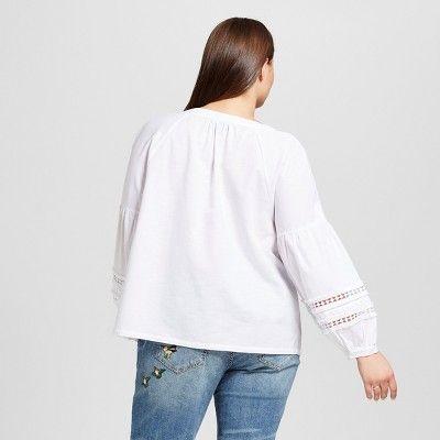 Women's Plus Size Beach Tunic - Who What Wear White 2X
