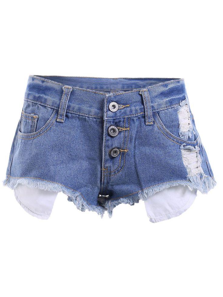 $11.42 Casual Frayed Bleach Wash Denim Shorts For Women
