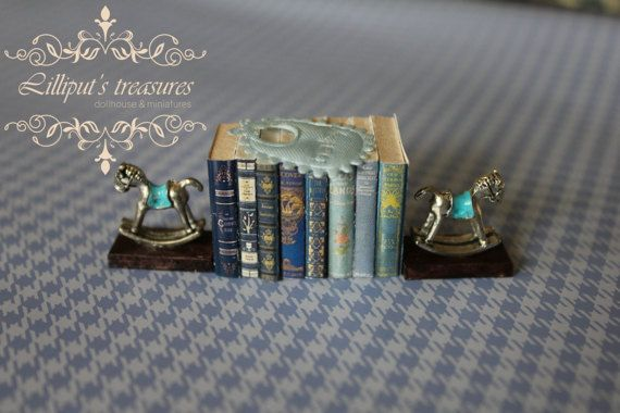 Dollhouse miniature light blue books and by Lilliputstreasures