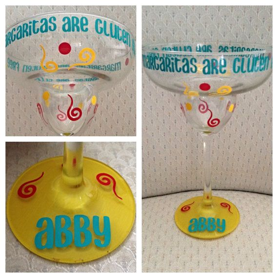 Gluten Free Margarita Glass in red, yellow and teal colors! In the details of your order, tell me Main Color and 2 accent colors. Looking for something else? Check Out our custom listing. Margarita glass decorated with your choice of name and colors! We can create almost anything so dont be afraid to ask! Quotes from songs, professions (nurse, doctor, dental hygienist, dentist, teacher, hair dresser, etc), and more! Vinyl colors available in a rainbow of colors!  OTHER SUGGESTIONS: 1…