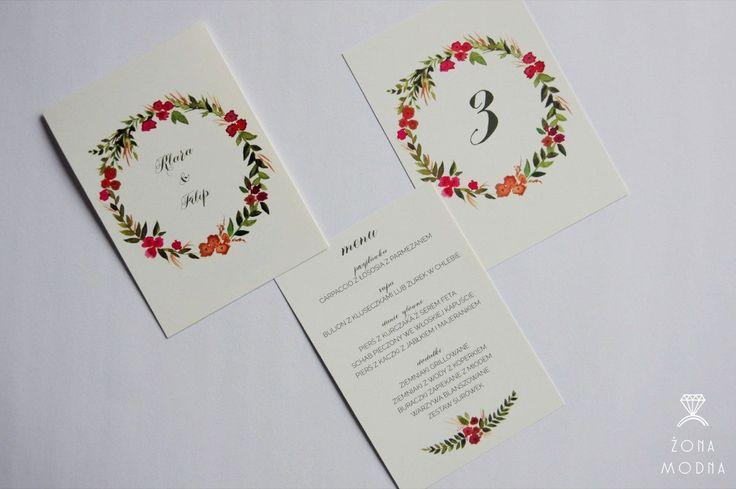 Wedding stationery with flowers www.zonamodna.com