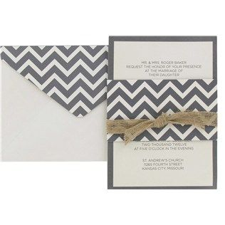 "Say ""I do"" with these gray & cream chevron wedding invitations!"
