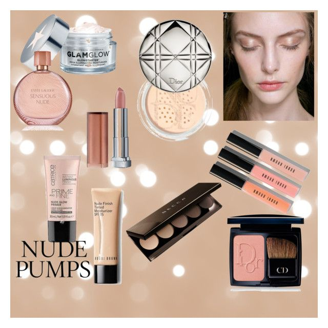 nude make up by wearitblack on Polyvore featuring beauty, Becca, Bobbi Brown Cosmetics, Christian Dior, Maybelline, Estée Lauder, GlamGlow and Physicians Formula