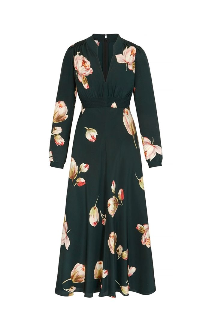 Grandad Midi dress Peony print FRONT