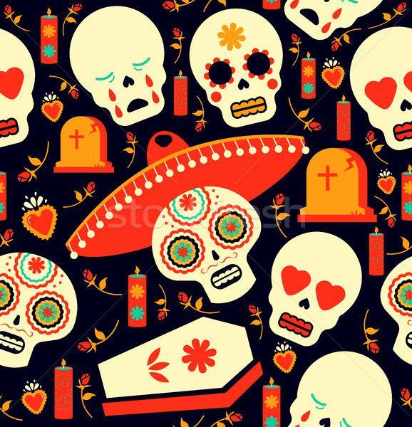 Day Of The Dead Mariachi Skull Emoji Background Stock Photo C Cienpies 8588256 Stockfresh Emoji Backgrounds Pattern Art Seamless Patterns