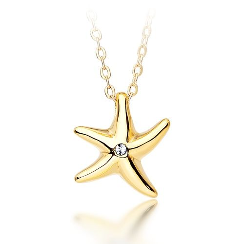 Studded Starfish Necklace Gold Plated with Swarovski® Crystals