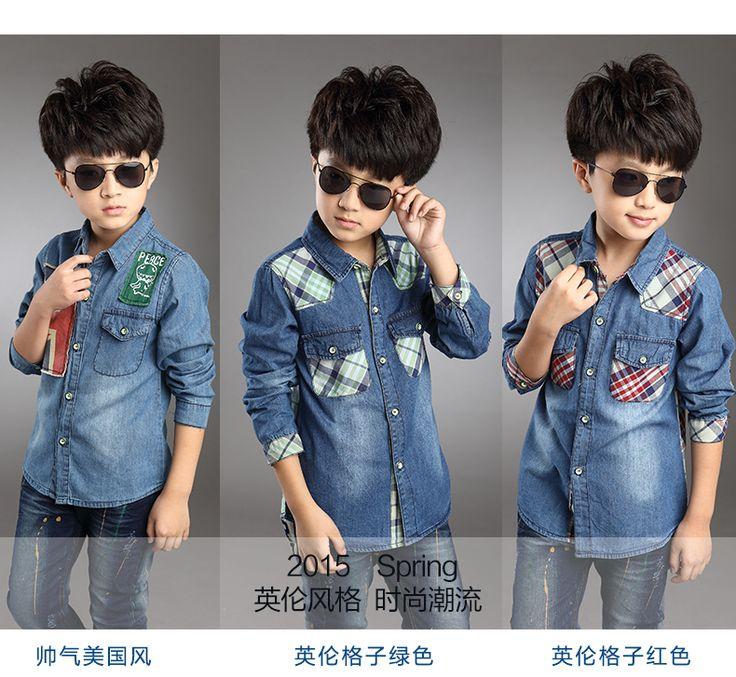 Дети Мальчики Весна и осень 2016 детские с длинными рукавами, джинсовые рубашки корейской версии маленького мальчика большой девственный хлопчатобумажную рубашку прилив