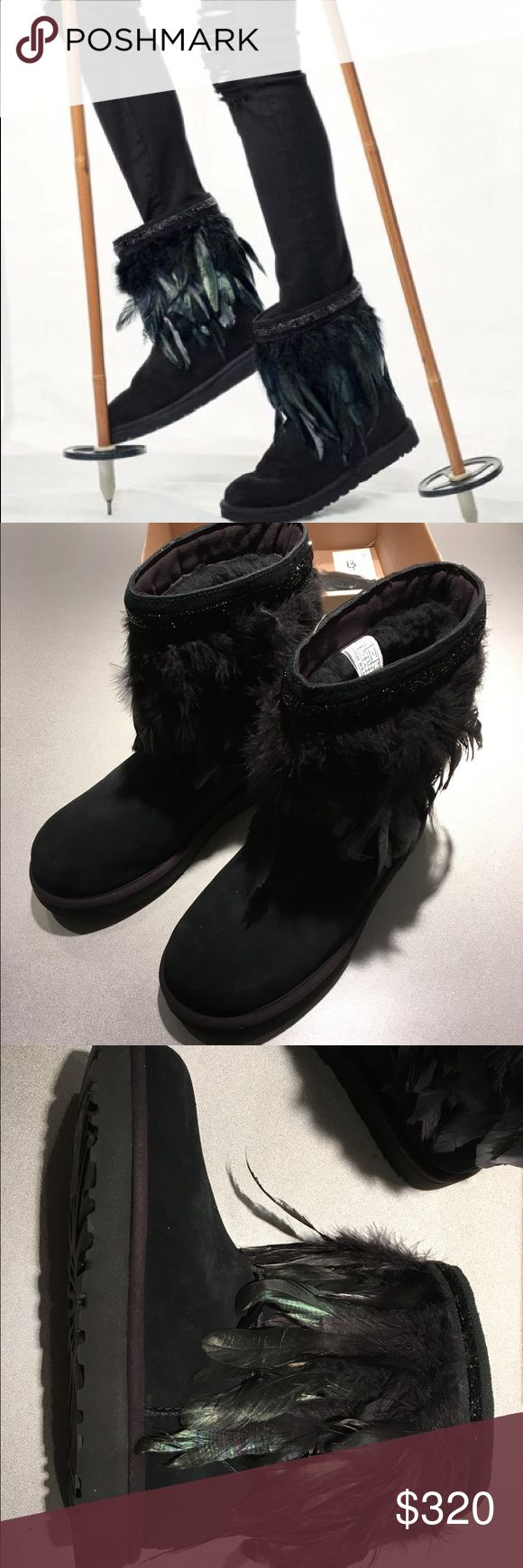 """UGG Classic Short Feather-Trim Boot, Black sz 7 US UGG Classic Short Feather-Trim Boot, Black sz 7 US New in Box (without cover)  UGG suede boot with Swarovski® crystal trim. Ostrich, chicken, and peafowl feather collar. UGGpure™ 100% wool insole and lining. 1"""" flat heel; 8""""H shaft. Round toe. Pull-on style. Treadlite by UGG™ outsole. Imported.  Using only premium materials and employing the highest standards of craftsmanship, UGG® creates footwear, apparel, accessories, and home items that…"""