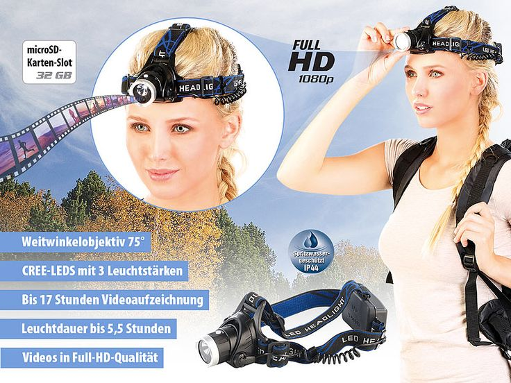 Somikon LED-Outdoor-Stirnlampe mit integrierter Full-HD-Kamera, IP44