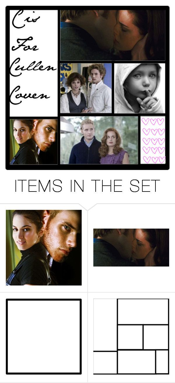 """c is for"" by backtodecember ❤ liked on Polyvore featuring art and abc twilight c cullen coven rosalie emmett jasper alice esme carlisle edward bella renesmee"