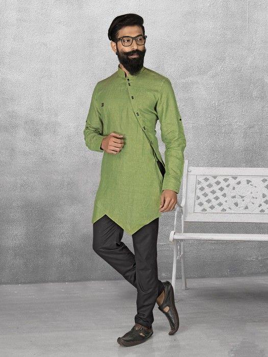 Green Color Linen Kurta Suit Mens Pathani Kurta Mens