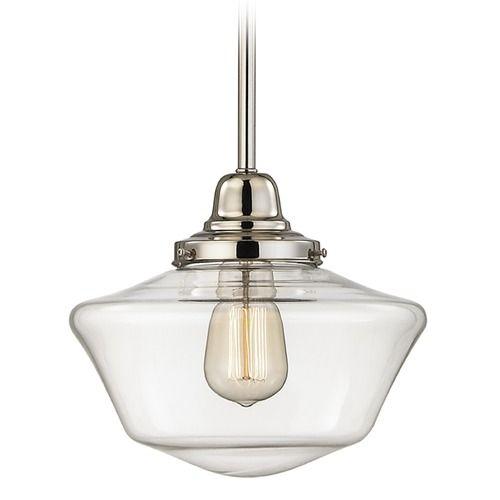 10-Inch Clear Glass Schoolhouse Mini-Pendant Light in Polished Nickel Finish   FB4-15 / GA10-CL   Destination Lighting