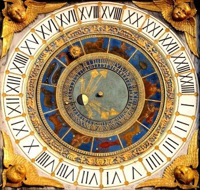 Renaissance astronomical clock in Brescia, Italy 1540-50. Displays hours, moon phases and the zodiac.