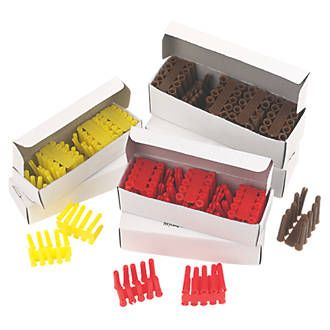 Easyfix Wall Plug Selection Pack Assorted 600 Pieces. Plastic, boxed. 200 each of yellow, red and brown. http://www.MightGet.com/january-2017-13/easyfix-wall-plug-selection-pack-assorted.asp