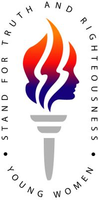 LDS Young Women Organization Logo - a typical Masonic torch with 3 prongs