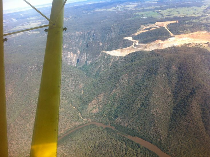 Marulan Quarry, Marulan, NSW, from outside the left wing (my side). Never even knew Marulan had a quarry until I saw it from the air. 25 February 2013.