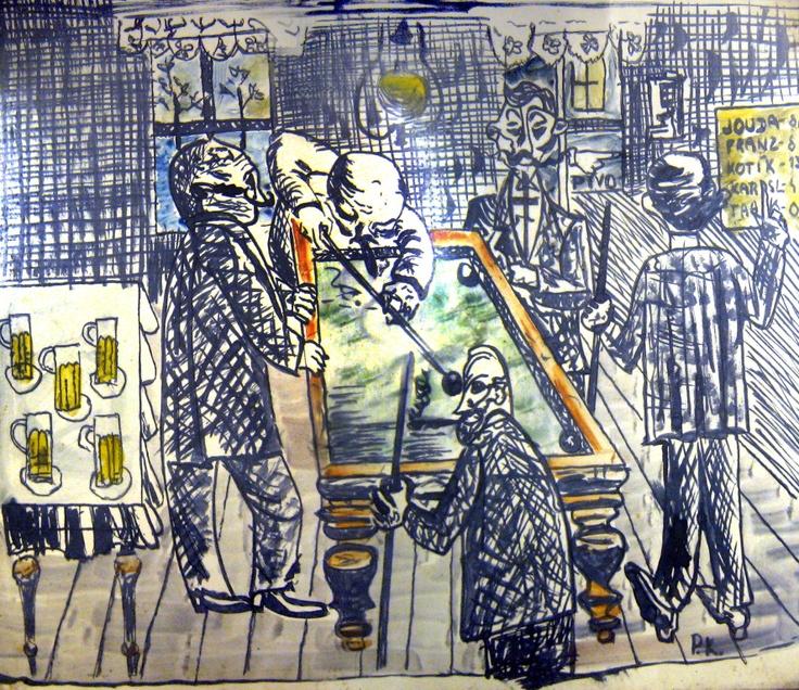 KOTÍK, PRAVOSLAV ? (1889 - 1970). U kulečníku, nedat., malba tuší kolor. akvarelem, 440 x 520, dole sign. P.K. Rám, zaskleno. cena vyvolávací cena:8.000,- konečná cena:0,-