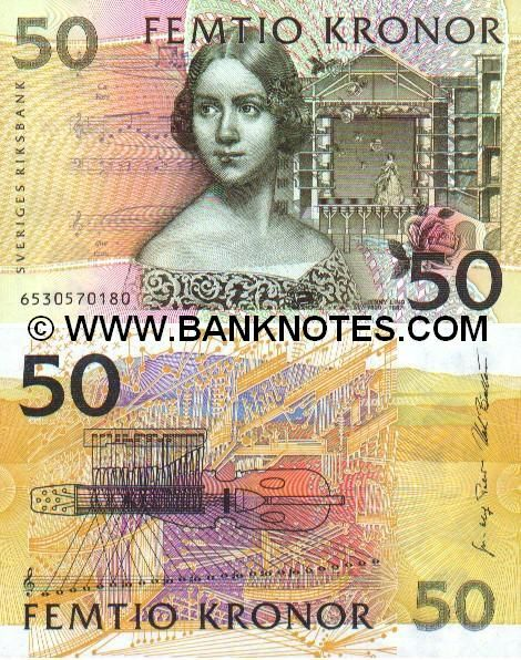 Sweden 50 Kronor 2002    Front: Singer Jenny Lind*; musical notes (scores) from Vincenzo Bellini's opera Norma; a drawing of Stockholm's old opera house; rose; Back: An excerpt from the score of Sven-David Sandström's Pictures for Percussion and Orchestra; picture of a silver harp and its tonal range; the background depicts a stylised view of a Swedish landscape; Watermark: Jenny Lind.