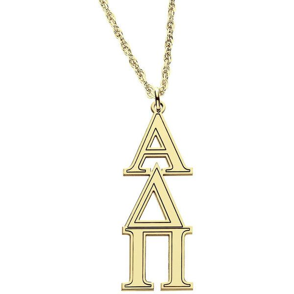 Personalized Gold Over Silver Greek Pendant Necklace ($110) ❤ liked on Polyvore featuring jewelry, necklaces, gold necklace pendant, 14k gold necklace, silver initial necklace, gold rope chain necklace and initial necklace