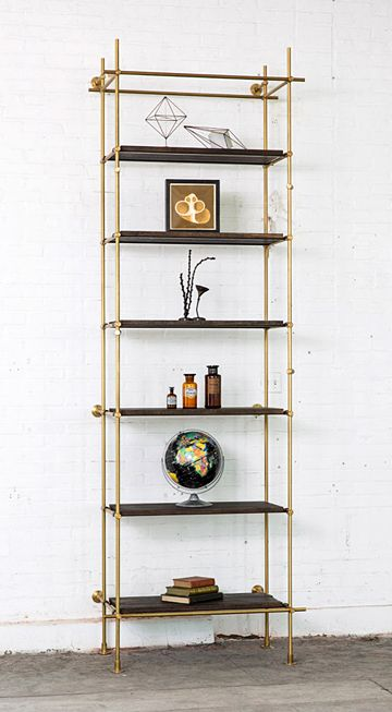 """Single Bay System 36"""" shelves with hooks Framework in solid brass with a warm finish Bay Widths: (Center to Center) 36"""" Size: 36"""" -42"""" W..."""