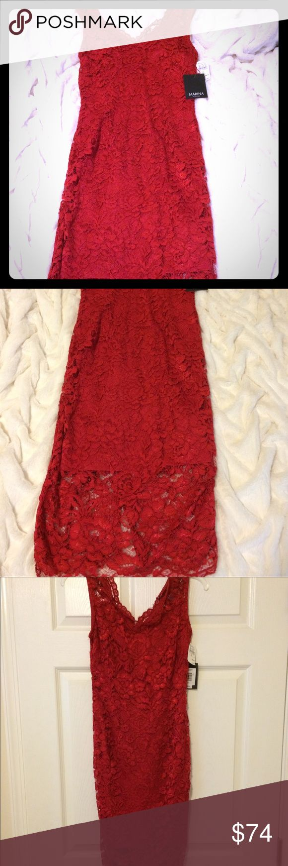 NWT Marina Red lace dress NWT Marina Rinaldi red with lace v neck dress. Originally marked as $129, purchased for $99. Lace 55%nylon, 45% cotton; lining 100% polyester HUGE DISCOUNT FOR NEXT 24 HOURS Marina Rinaldi Dresses