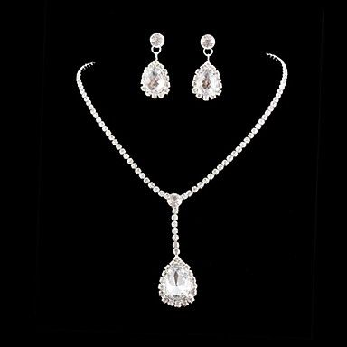 Bruiloft bruids kristal ketting oorbellen sieraden set - EUR € 7.35