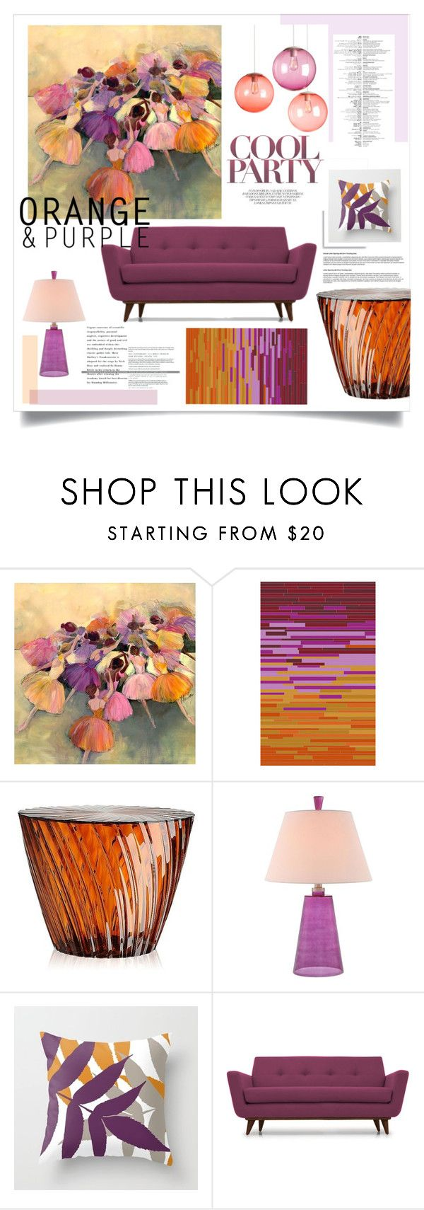 """""""Orange and Purple Color Challenge"""" by judysingley-polyvore on Polyvore featuring interior, interiors, interior design, home, home decor, interior decorating, Universal Lighting and Decor, Surya, Kartell and Joybird Furniture"""