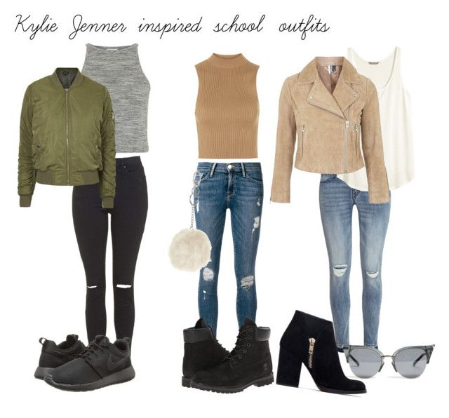 """Kylie Jenner inspired school outfits"" by kyliekendallkj ❤ liked on Polyvore featuring H&M, Topshop, NIKE, Zara, Frame Denim, Timberland and KylieJenner"