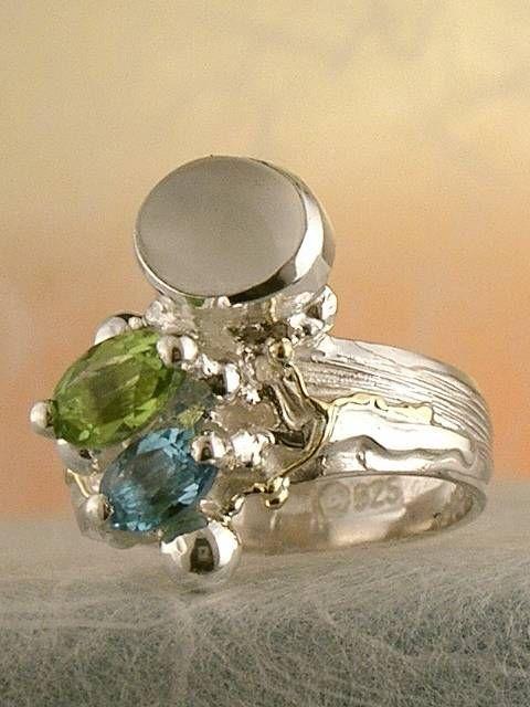 Gregory Pyra Piro #Konst #Smycken Sterlingsilver och Guld med Ädelstenar #Ring Nr. 3274