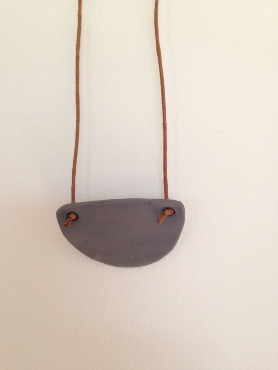Funky colourful half moon clay pendant necklace