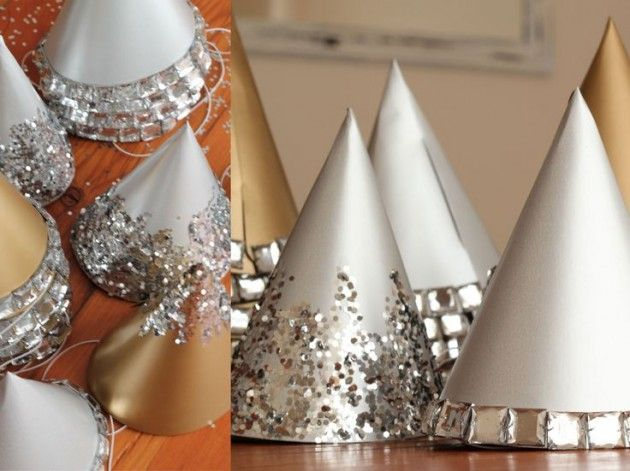 30 Sparkling New Year's Eve DIY Party Decorations - use homemade hats for decoration before wearing them