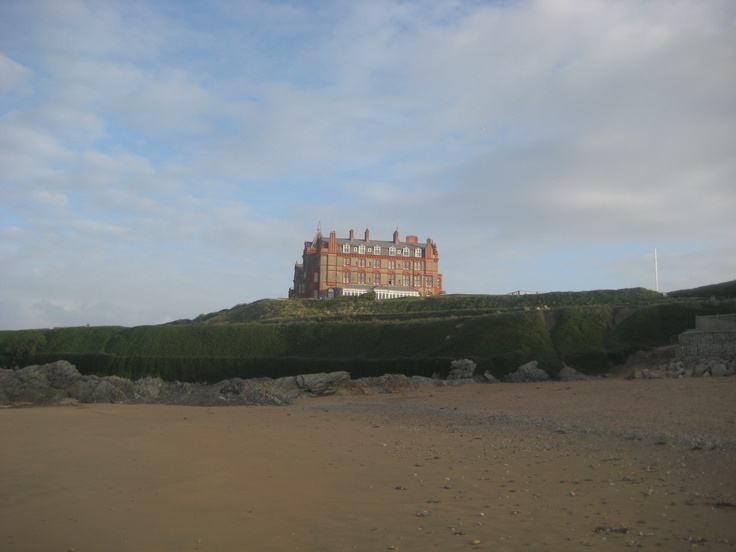 Headland Hotel, Newquay - looking up from Fistral Beach - such happy times here
