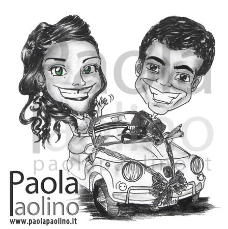 Caricatura sposi su fiat 500. Una divertente caricatura di due freschi sposi con una magnifica Fiat 500 addobbata a festa, all'arrivo degli sposi in Chiesa, per la cerimonia delle nozze. www.paolapaolino.it #caricaturista #ritrattista #illustrazione #arte #matrimonio