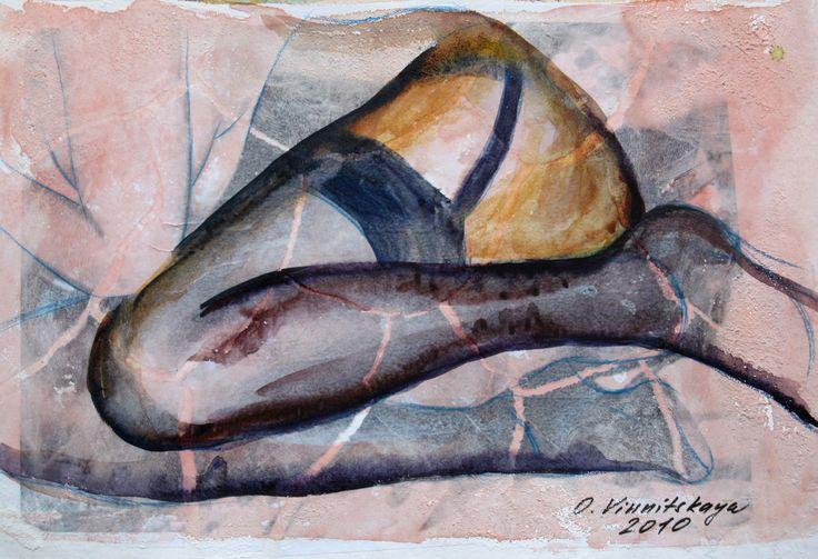 Olga Vinnitskaya. Decollage, Aquarell mit Spachtelmasse auf Papier.