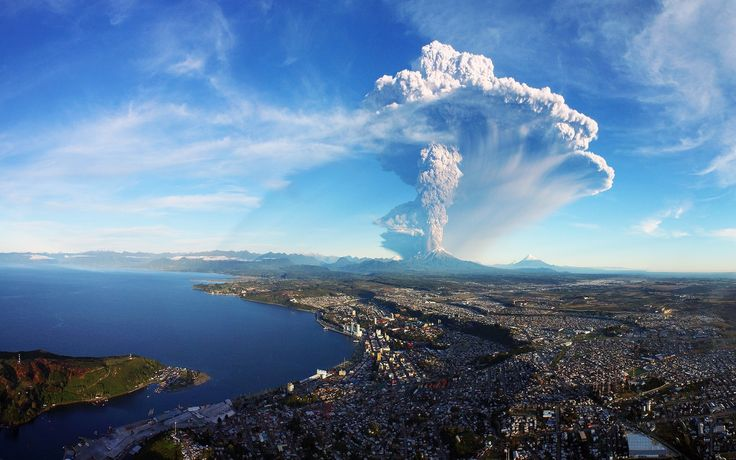 General 1920x1200 landscape nature eruption cityscape sea smoke ash Chile Calbuco Volcano Puerto Montt water volcano
