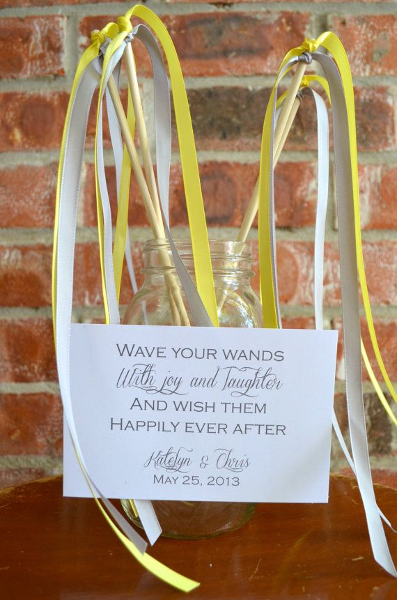 """Wedding Ribbon Wands Pack of 50 - Double Ribbon - two 3/8"""" Ribbons, Includes a matching sign"""