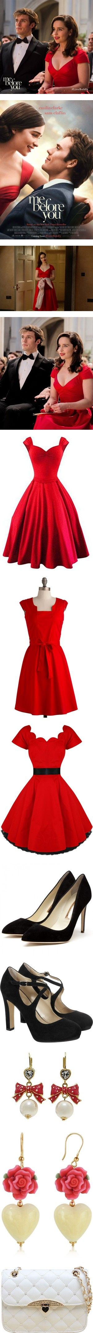 Me Before You - Louisa's Wardrobe by crystalbird on Polyvore featuring women's fashion, dresses, red rockabilly dress, going out dresses, cocktail party dress, retro party dress, vintage style dresses, red, modcloth and red dress