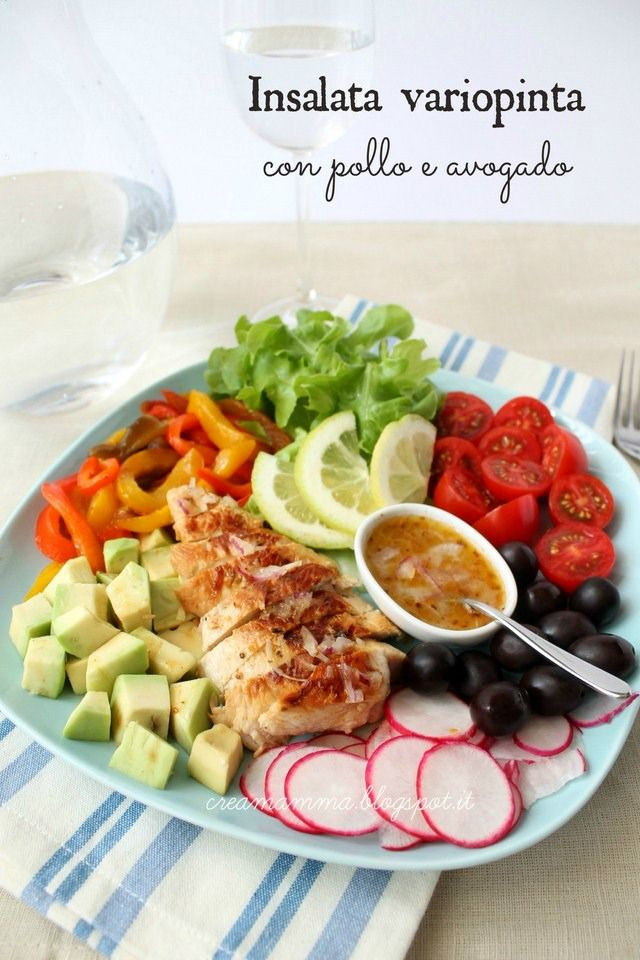 Colorful salad with chicken and avocado