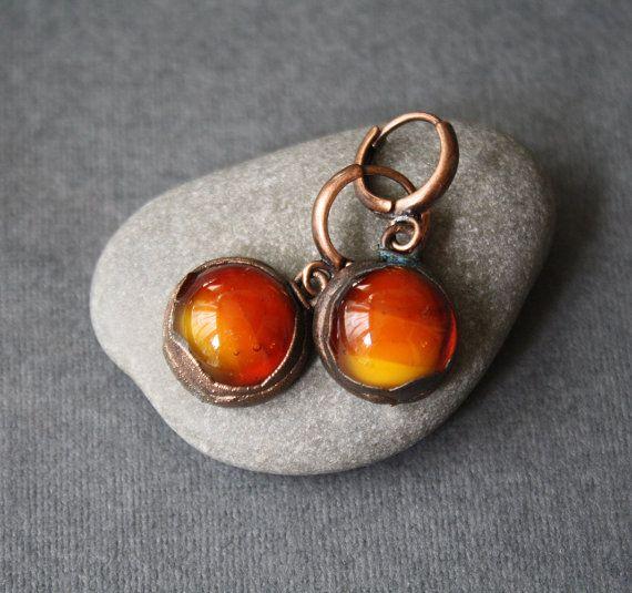 Earrings. Glass and copper от LikeAGlassShop на Etsy