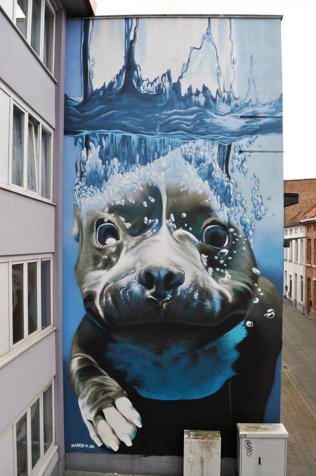 4-Story Underwater Dog Mural by Street Artist Smates (5/5)