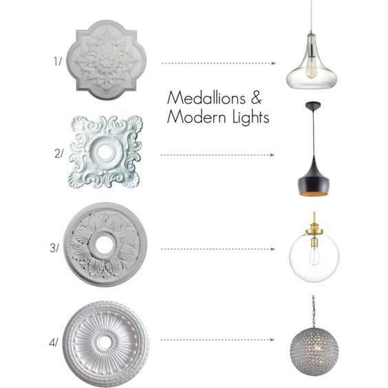 medallions and modern lights are a hot new design trend to consider for your home