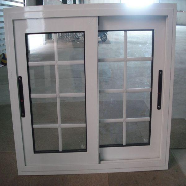 White Aluminium Sliding Window Grill Grid Belgian Design For