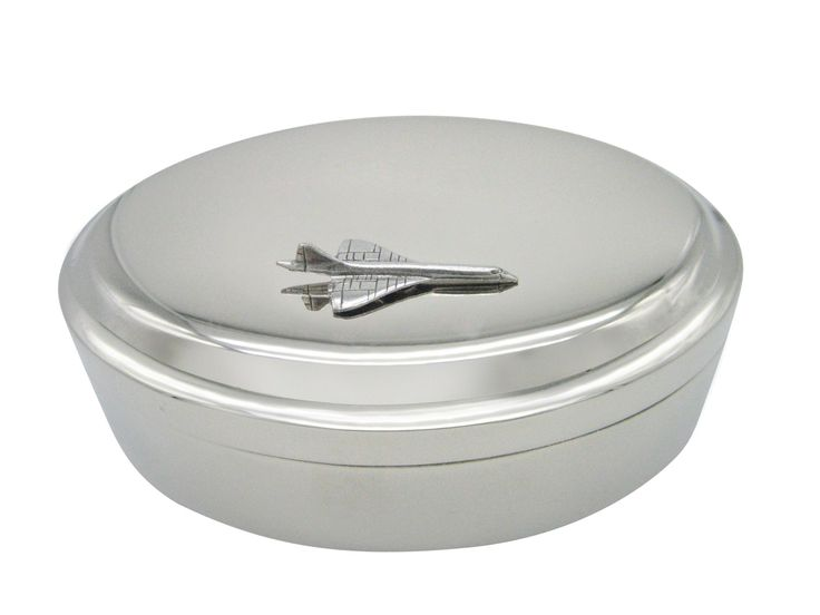Silver Toned Textured Concord Plane Pendant Oval Trinket Jewelry Box