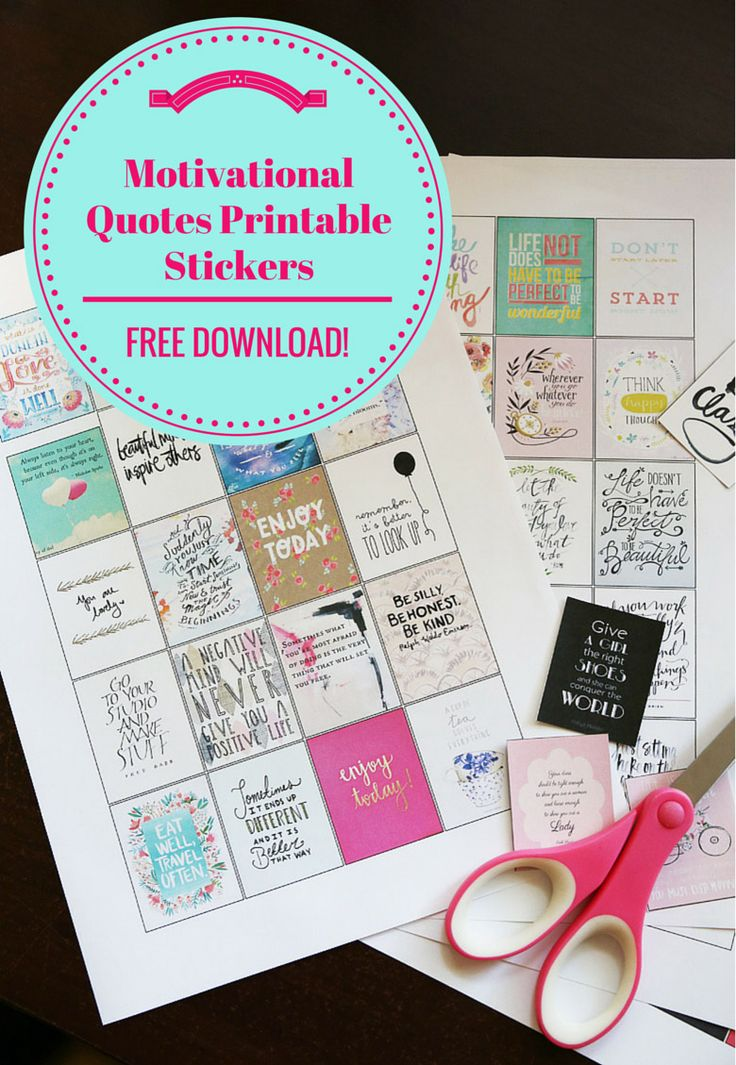 FREE Motivational Quotes Printable Stickers for Erin Condren Life Planners and other planners v2