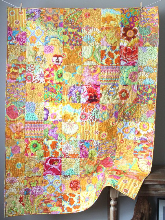 Yellow Lap Quilt Kaffe Fassett Quilt Modern Throw Quilt